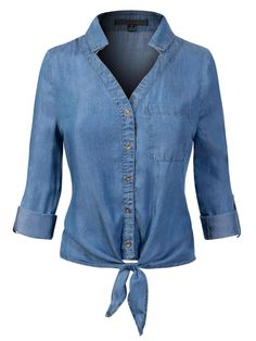 Shop a great selection of Design Olivia Women's Roll Up Sleeve Button Down Front Tie Knot Chambray Denim Shirt. Find new offer and Similar products for Design Olivia Women's Roll Up Sleeve Button Down Front Tie Knot Chambray Denim Shirt. Denim Outfit, Denim Shirt, Denim Top, Jeans Top Design, Chambray, Colored Denim, Tie Knots, Capsule Wardrobe, Wardrobe Ideas
