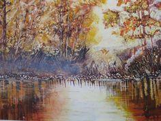 "Renate Schmidt ""Herbstlicht am See"" Aquarell"