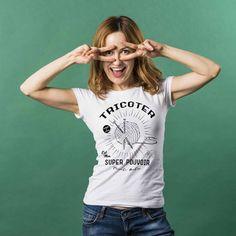 Tricoter est mon super pouvoir tricot holic t-shirt pour femme