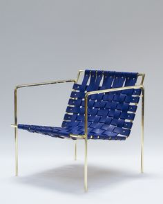 Rod+Weave chair with Brass Frame and Blue leather by Eric Trine Home Decor Furniture, Furniture Design, Outdoor Furniture, Metal Design, Cafe Chairs, Lounge Chairs, High Chairs, Woven Chair, Interior Decorating