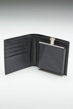 Wilouby Genuine Leather Wallet with 2 oz. Flask