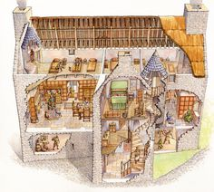 Cutaway diagram illustration of Tully Castle, Ireland. Tully Castle is a fortified house with a rectangular bawn and was built for Sir John Hume, a Scottish planter, in 1619 (now in ruins).