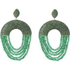 Monaco earring green onyx ($459) ❤ liked on Polyvore featuring jewelry, earrings, tassle earrings, sparkly earrings, disc earrings, pave disc earrings and oval earrings