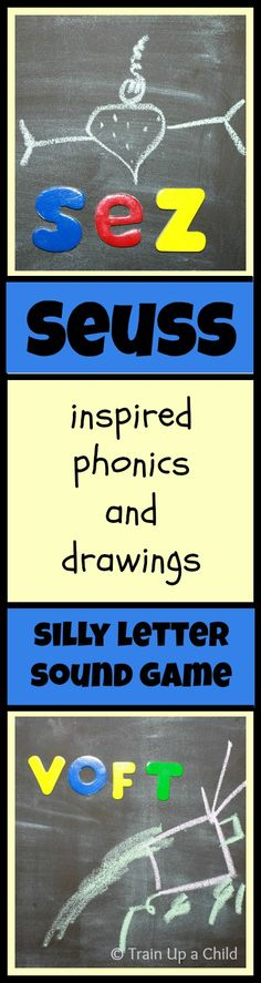 Silly Phonics Game for Beginning Readers {Dr. Seuss Inspired} Creative drawings and made up words for letter sound and blending practice.  Such a goofy game!  My son giggled the whole time.