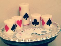 Flash Card Tray Set (4 small candles, 1 big candle with some playing card) Dimensions: Big candle: Diameter-3 inch, Height- 6 inch Small Candle: Diameter-3 inch, Height-3 inch