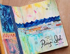 Art Journaling at Presque Isle! Journal Pages Created by Lisa Spangler for the Simon Says Stamp Blog.