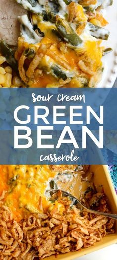 Sour Cream Green Bean Casserole is a no mushroom, no canned soup version of the classic side dish that is made with fresh green beans, creamy sour cream, sharp cheddar cheese, and french fried onions. This recipe feeds a crowd! #sidedish #greenbeans #casserole