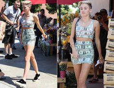 Miley usa : top cropped+saia,com estampa de dólar