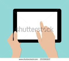 Woman hands hold and touch tablet PC on turquiose background, vector
