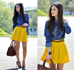 denim spijkerblouse geel yellow skirt rokje