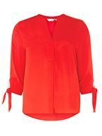 Womens Petite Red Tie Sleeve Shirt- Red