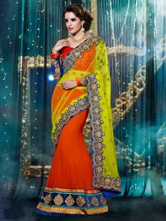 Yellow And Orange Net Lehenga Saree With Embroidery Work