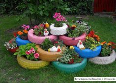 Re-use of old tires for a garden display