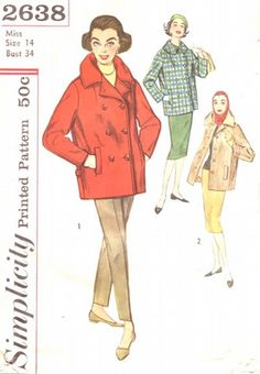 Simplicity Pattern 2638 Vintage 50's Car Coats - Single and Double Breasted! Uncut Size 14 Bust 34