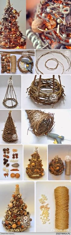Wrapped grapevine Christmas tree. Photo tutorial.