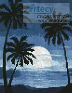 sun set with Palm Trees - cross stitch pattern designed by Tereena Clarke. Category: Mini.