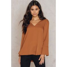 Tiger of Sweden Keliz Shirt (€170) ❤ liked on Polyvore featuring tops, leather brown, side slit top, long sleeve tops, leather long sleeve shirt, v-neck shirts and long sleeve shirts