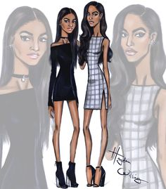 Hayden Williams Fashion Illustrations | Sasha Obama & Malia Obama by Hayden Williams