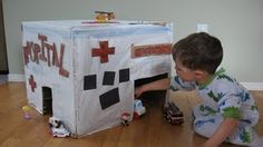 Cardboard Box Hospital - for kids afraid of doctors or dealing with a sick family member.