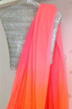Multicolor pink and orange chiffon saree with sequin unstitched blouse Plain Chiffon Saree, Plain Saree, Fancy Sarees, Party Wear Sarees, Indian Attire, Indian Ethnic Wear, Indian Dresses, Indian Outfits, Indian Sarees