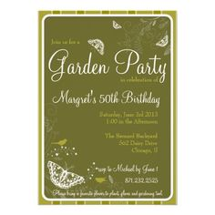 Butterfly and Birds Floral Garden Party Invitation