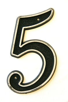 Number 5 - Vintage House Number Black and Chrome.via Etsy.