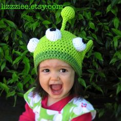 Little Green Monster Hat Crochet Pattern PDF  - instructions for beanie or earflap with braids or ties - Instant Digital Download