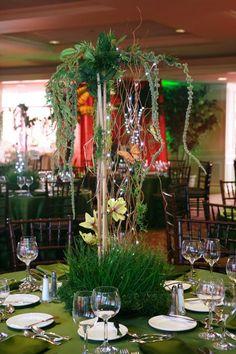 Jungle centerpiece with trees vines and grass for a rainforest theme Bar Mitzvah   Flickr - Photo Sharing!