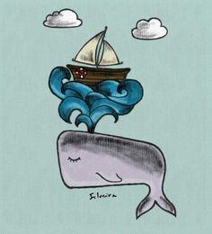 """Ilustração, com inspiração na obra moby dyck. Desenhado a mão livre e colorido digitalmente, o desenho traz um pequeno barco sendo """"ejetado"""" por uma grande baleia #silveira02"""
