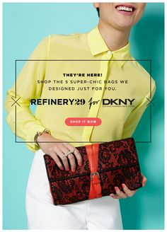 great color. simple layout. banner refinery29 for dkny