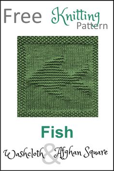 Free Fish Dishcloth or Afghan Square Knitting Pattern - Daisy and Storm Knitted Dishcloth Patterns Free, Knitting Squares, Knitted Washcloths, Knit Dishcloth, Easy Knitting Patterns, Loom Knitting, Knitting Stitches, Free Knitting, Knitting Ideas