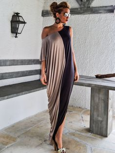 Synthia Psarru Couture - Gray & Beige Maxi Dress / Gray Beige Kaftan / Asymmetric Plus Size Dress / Oversize Loose Dress / #35069