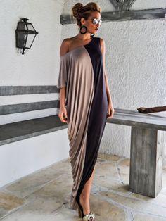Gray & Beige Maxi Dress / Gray Beige Kaftan / Asymmetric Plus Size Dress / Oversize Loose Dress / #35069