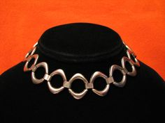 Vintage Heavy Silver Tone Oval Link Choker Necklace by ditbge, $13.25