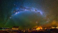 A 12 shot panorama of the milky way over The church of Good Shepherd, Lake Tekapo . One of my favorite locations in south island, New Zealand. Hope you like it. Lake Tekapo, Circus Art, Space Photos, South Island, Aerial Photography, Shutter Speed, Milky Way, Optical Illusions, Night Skies