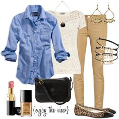 """camel & blue"" by enjoytheview on Polyvore"