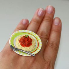 Yummy!!! Yummy!!! A very delicious plate of Meatball Spaghetti!!!     It measures approx. 1.75 inch wide and is on a silver plated adjustable bang that will fit most ring sizes.