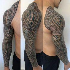 Manly Polynesian Male Tribal Sleeve Tattoos #samoantattoosmale #samoantattoosmen #polynesiantattoossymbols