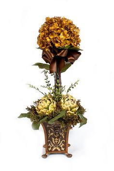 Gold Hydrangea Topiary in Planter Christmas Flower Arrangements, Artificial Floral Arrangements, Faux Flower Arrangements, Artificial Plants, Silk Flower Bouquets, Silk Flowers, Silk Roses, Faux Flowers, Fresh Flowers