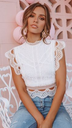 - High neck frilled lace crop top - Visible zip at back - polyester Casual Dresses, Casual Outfits, Cute Outfits, Look Fashion, Fashion Outfits, Womens Fashion, Off The Shoulder Top Outfit, Wedding Dress Sketches, Mo S