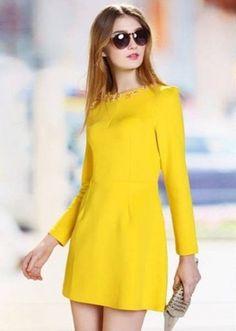 long sleeve yellow dress
