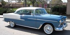 1955 Chevy, 2-door, 2-tone blue and white #chevroletclassiccars #vintagecars