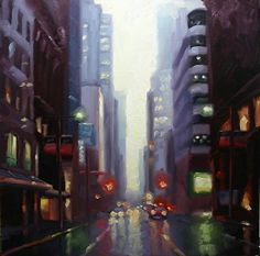 Yonge Street, lluvia de la tarde por Catherine Jeffrey Petróleo ~ 24 x 24