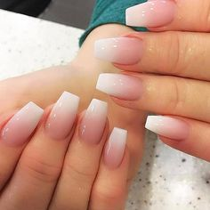 Soft White And Natural Pink Ombre Acrylic Fingernail Design Very Simple But Cute Would Look Good On Short Coffin Or Stiletto Shapes