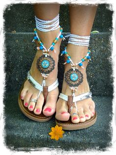 Flower Mandala WEDDING BAREFOOT Sandals Toe Anklet wrap sandal WHITE Crochet Sandals Garden Wedding Summer vacation Foot Jewelry GPyoga