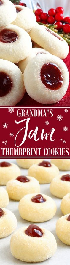 Grandma's Perfect Jam Thumbprint Cookies ~ Melt-in-your-mouth classic raspberry and strawberry jam thumbprint cookies perfect in every way and just the way Grandma made! Buttery, tender-crumbed, sweetened just right and perfect for Christmas. In fact, the Jam Thumbprint Cookies, Jam Cookies, Cookies Et Biscuits, Sugar Cookies, Best Christmas Cookies, Holiday Cookies, Christmas Desserts, Holiday Baking, Christmas Baking