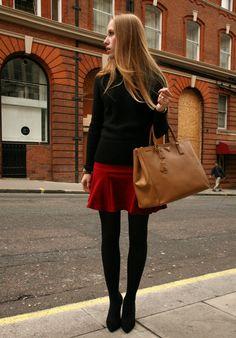 la-pulcinella.com wearing red Zara skirt, Prada pullover & Prada bag in London