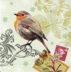 2 Serviettes en papier Oiseau Rouge-gorge Decoupage Paper Napkins 3 Robins