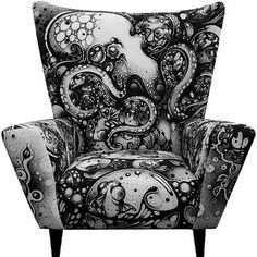 Octopus Pattern Chair - A British classic given an up to date twist thanks to Nanami Cowdroy. A screen printed faux suede fabric with an awesome black and white octopus scene. I NEED THIS CHAIR. Funky Furniture, Painted Furniture, Ikea Furniture, Ikea Chair, White Furniture, Office Furniture, Octopus Art, Octopus Decor, Patterned Chair