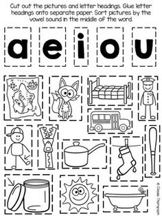 Median short vowel picture sort- freebie more vowel worksheets, school First Grade Reading, First Grade Classroom, Word Study, Word Work, Jolly Phonics, Phonics Rules, Short Vowel Sounds, Short Vowels, Kindergarten Literacy